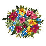 Colorful floral composition with leaves and flowers. Royalty Free Stock Image