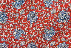 Colorful Floral Cotton Tapestry Fabric Background. Pattern Royalty Free Stock Photo
