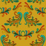 Colorful floral damask seamless pattern with curls vector illustration