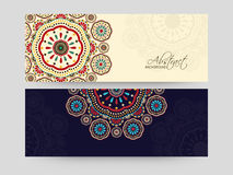 Colorful floral decorated header or banner set. Royalty Free Stock Image