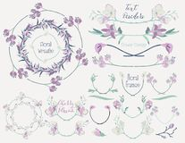 Colorful Floral Design Elements, Dividers, Frames. Collection of Floral Design Elements. Hand Drawn Dividers, Text Frames, Wreaths with Branches and Flowers Stock Photo
