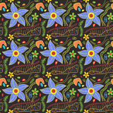 Colorful Floral doodles pattern Stock Images