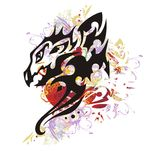 Colorful floral dragon splashes with red heart Royalty Free Stock Photography