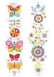 Colorful Floral Elements with Birds and Butterflies Stock Image