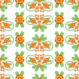 Colorful Floral Folk Vector Seamless Pattern stock images