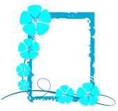 Colorful floral frame in blue  Royalty Free Stock Photos