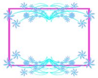 Colorful floral frame in blue  Stock Photo