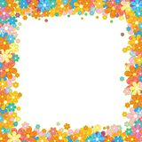 Colorful Floral Frame. Flower Garland on White Royalty Free Stock Photo