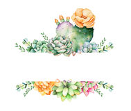 Colorful floral frame with leaves,succulent plant,branches and cactus. World of succulents and cactus collection.Perfect for wedding,frame,quotes,pattern