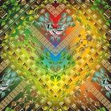 Colorful floral greek 3d seamless pattern. Vector ornamental geometric background. Leafy vintage tiled ornaments. Geometry shapes, rhombus, zigzag, stripes vector illustration