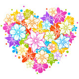 Colorful floral heart royalty free illustration