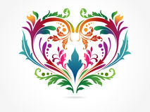 Colorful floral heart in a silver background Stock Images