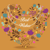 Colorful floral heart with text Best wishes Stock Photos