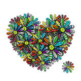 Colorful floral heart for your design Royalty Free Stock Image