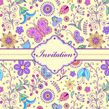 Colorful floral invitation card Stock Photos