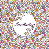 Colorful floral invitation card Royalty Free Stock Image