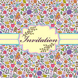 Colorful floral invitation card Stock Photography