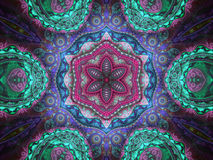 Colorful floral mandala. Digital fractal artwork for creative graphic design Stock Image
