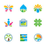 Colorful floral nature splash art travel experience logo icon set Royalty Free Stock Photography