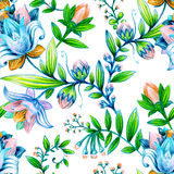 Colorful floral pattern. Bright flowers wallpaper Stock Image