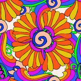 Colorful floral pattern drawing on white background Royalty Free Stock Images