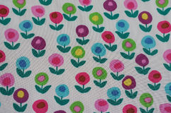 Colorful floral pattern on fabric Stock Photos