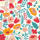 Colorful floral pattern. Seamless pattern Royalty Free Stock Photo