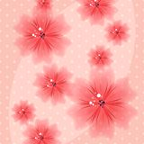 Colorful Floral Pink Background with Dots Stock Photo