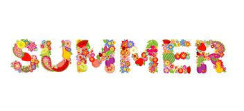 Colorful floral print with summer word Stock Image