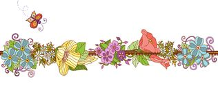 Colorful floral ribbon isolated. Royalty Free Stock Images