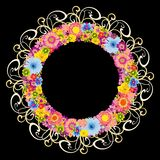 Colorful floral round frame on black background Stock Photo