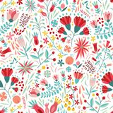 Colorful floral seamless pattern with berries, leaves and flowers on white background. Decorative botanical backdrop. Flat cartoon vector illustration for vector illustration