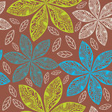Colorful floral seamless pattern in cartoon style. Royalty Free Stock Photo