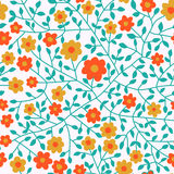 Colorful floral seamless pattern in cartoon style. Seamless patt Stock Photo