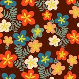 Colorful floral seamless pattern in cartoon style. Seamless patt Royalty Free Stock Images