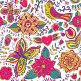 Colorful floral seamless pattern in cartoon style. Seamless patt Stock Images
