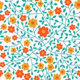 Colorful floral seamless pattern in cartoon style. Seamless patt Royalty Free Stock Photos
