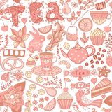 Colorful floral seamless pattern in cartoon style. Seamless patt Stock Photos