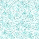 Colorful floral seamless pattern in cartoon style. Seamless patt Royalty Free Stock Photography