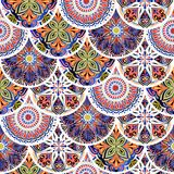 Colorful floral seamless pattern from circles with mandala in patchwork boho chic style. In portuguese and moroccan motif Stock Image