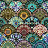 Colorful floral seamless pattern from circles with mandala in patchwork boho chic style. In portuguese and moroccan motif Royalty Free Stock Image