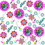Colorful floral seamless pattern with cute flowers and seamless Royalty Free Stock Images