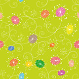 Colorful floral seamless pattern green background Stock Photo
