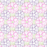 Colorful floral seamless pattern with leaves and Stock Photos