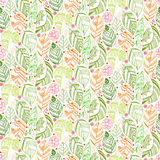 Colorful floral seamless pattern with leaves and Stock Images