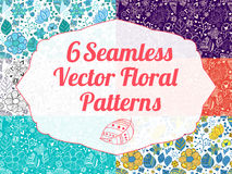 Colorful floral seamless pattern with leaves and Royalty Free Stock Photo