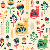 Colorful floral seamless pattern with love cats. Stock Photo