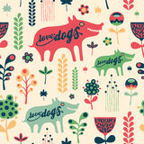Colorful floral seamless pattern with love dogs. Stock Image
