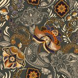 Colorful floral seamless pattern. Paisley ornament. Decorative flowers. Design for fabrics, cards, web, decoupage Royalty Free Stock Photos