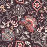 Colorful floral seamless pattern. Paisley ornament. Decorative flowers. Design for fabrics, cards, web, decoupage Stock Image